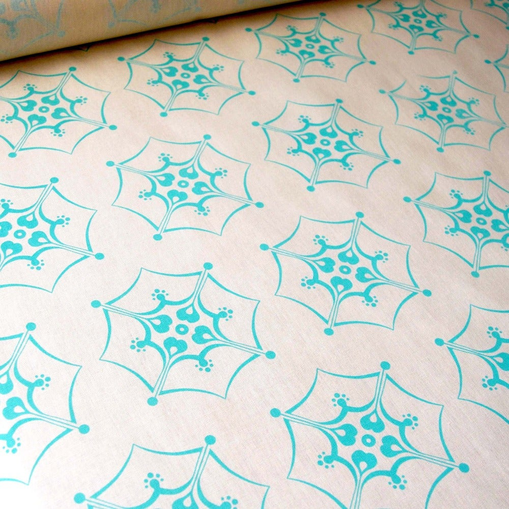 "Image of Verano ""Petals"" handprinted yardage fabric ~ sea green"