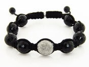 Image of Black Shamballa Macrame Bracelet Pave Diamonds 1.25ct