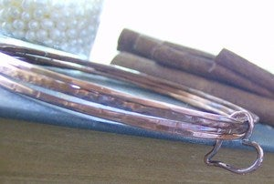 Image of pure copper rustic hand stamped bangle set