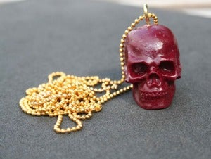 Image of Red Wine Skull Necklace