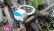 Image of chunky silver ring blue /grey/white