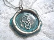 Image of Baby Blue Wax Seal Pendant Necklace By Ritzy Misfit
