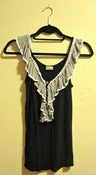 Image of Von Maur Black Tank With Gray Ruffle