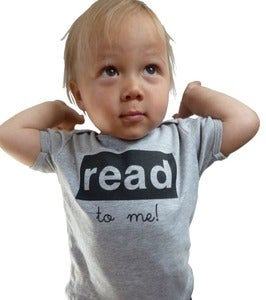 Image of read to me baby tee, grey/black