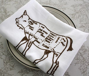 Image of Butcher's Diagram of a Cow - floursack towels