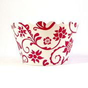 Image of Red and White Hannah Cupcake Wrapper