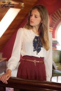 Image of *As seen in LOOK magazine*Old School Ruffled Collar Bow Blouse (White) Back in Stock!