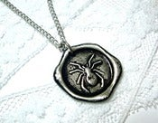 Image of Spider Wax Seal Pendant Necklace Your Choice of Color