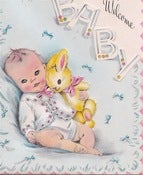 Image of Vintage Greeting Card - Welcome Baby - 1947