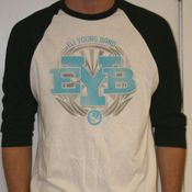 Image of Black/White EYB Logo Raglan T-Shirt / MEDIUM ONLY!