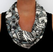 Image of Organic Cotton Knit Scarf - Tea Cups