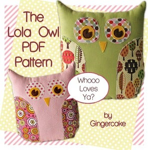 Image of Lola The Owl Pillow PDF Pattern and bonus Lola Owl Bag Pattern