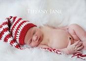 Image of Newborn Candy Cane Striped Elf Beanie