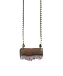 Image of Amethyst Druzy Slice & Brass Necklace