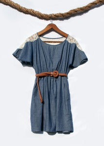 Image of Chambray & Lace Dress - Denim