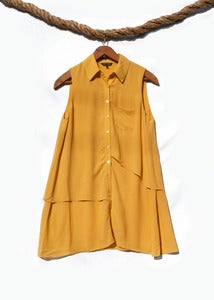 Image of Sleeveless Button-Up Tunic - Mustard