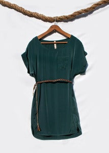 Image of Short Sleeve Dress w/Belt - Hunter Green