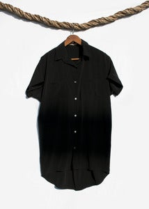 Image of Short Sleeve Shirtdress - Black