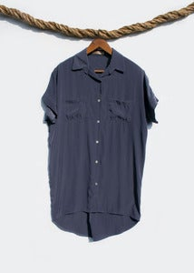 Image of Short Sleeve Shirtdress - Slate Blue