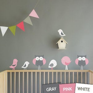 Image of Birds and Owls and Birds Fabric Removable Wall Decal Stickers for Kids or Nursery Room