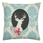 Image of Handmade cushion on natural fabrics  blue deer cameo