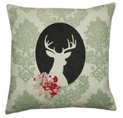 Image of Handmade cushion on natural fabrics  green deer cameo