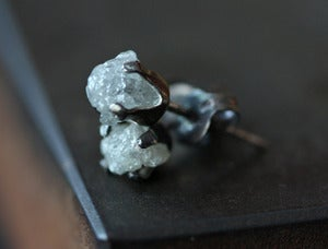 Image of Oxidized Sterling Silver Rough Diamond Stud Earrings