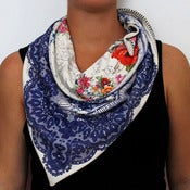 Image of Organic Cotton Knit Triangle Scarf - Lace/Sketchbook