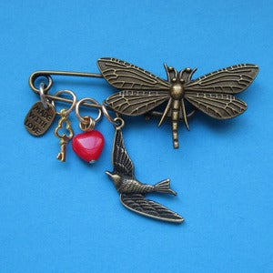 Image of Dragonfly Dreaming Charm Brooch (various colours) Sale 50% 0ff