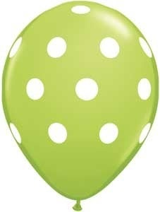 "Image of 16"" Lime Green Polka Dot Balloons - 50% OFF"