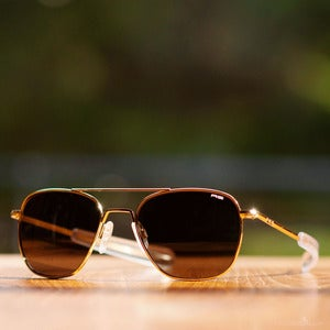 Image of Randolph Engineering Aviator Sunglasses - Gold Frame Gray Polarized Lens