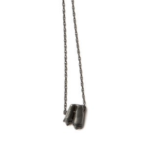 Image of oxidized silver sheep tooth on 28&quot; oxidized silver rope chain (P27sil28) 