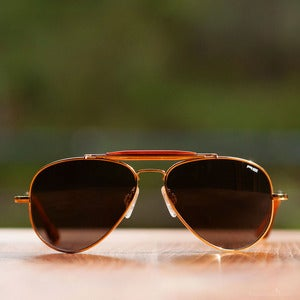 Image of Randolph Engineering Sportsman Sunglasses - Gold Frame Gray Polycarbonate Lens