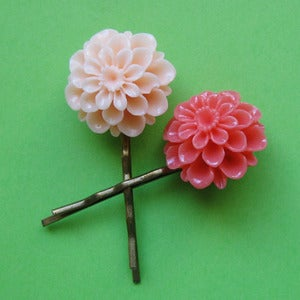 Image of Tutti Frutti flower hair clips (various colours)