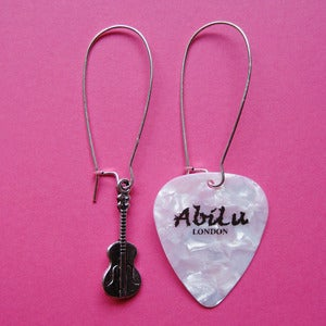 Image of Silver Plectrum Earrings (various colours)