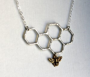 Image of Honeycomb Necklace on Sterling Chain