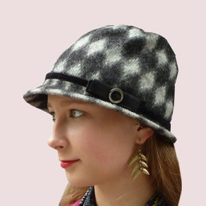 Image of Chess Master's Cloche in Grey Felted Wool Knit