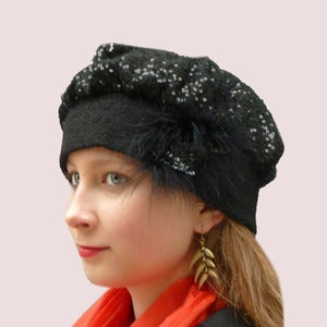 Image of French Encounter Beret in Black Sequined Wool Knit