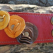 Image of Leather Cufflette ~ Rouge & Autumn