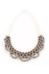 Image of small 'metal lace' necklace- beige
