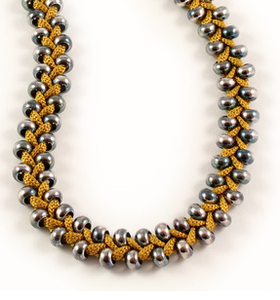 Image of short beaded plait necklace- mustard