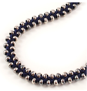 Image of short plait necklace- navy blue