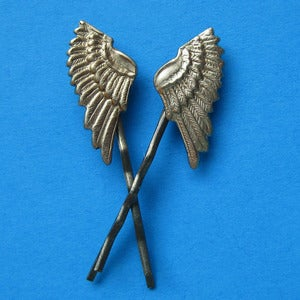 Image of Vintage Brass Angel Wing Hairclips