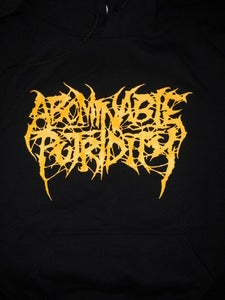 Image of ABOMINABLE PUTRIDITY YELLOW LOGO HOODIE NOW IN STOCK