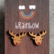 Image of Wooden Rudolph Earring