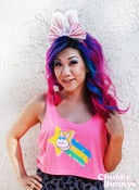 Image of Shooting Star Bunny Oversized Tank Top (Neon Pink)