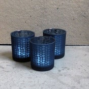 Image of set of 3 indigo &quot;mille fleurs&quot; tealight holders