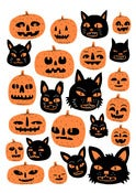 Image of Cats and Pumpkins - A3 Risograph Print