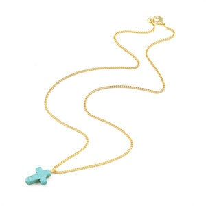 Image of WAS £10 - Lotty. Turquoise Cross Necklace