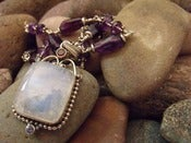 Image of Moon Goddess Necklace |  Rainbow Moonstone Pendant, African Amethyst